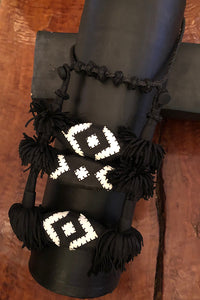 Fringe Patchwork Necklace Black and White
