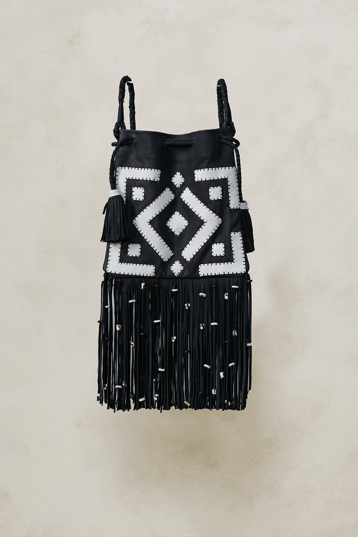 Tribal Patchwork Drawstring Crossbody Bag