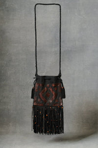 Tribal Patchwork Drawstring Crossbody Bag Black and Brown OS