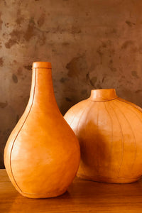 Camel Leather Bottle Vase Camel M L