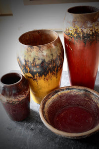 Painted Palm Wood Vessels Yellow