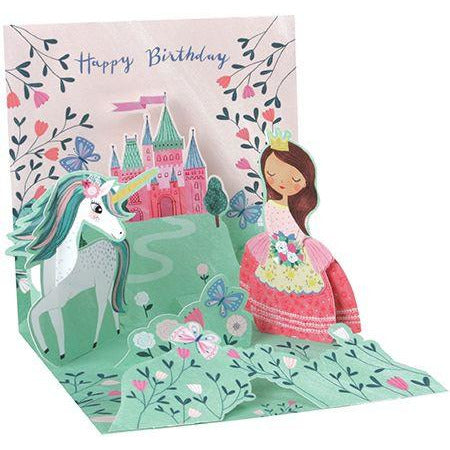 Princess and Unicorn Pop-up Birthday Card - Up With Paper