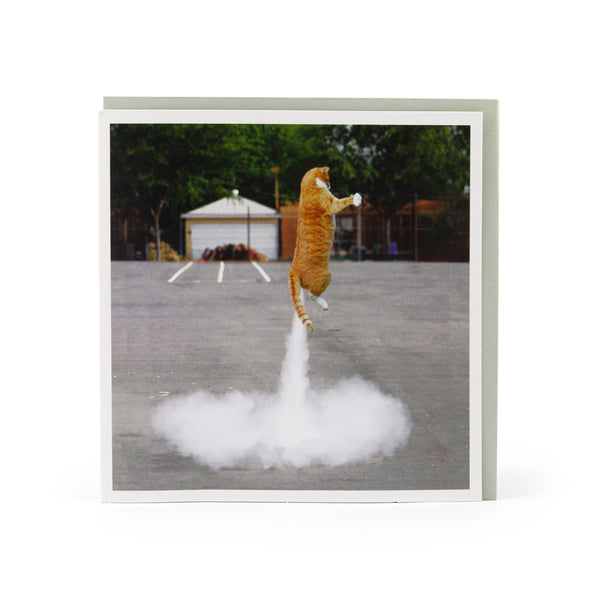 Cat Rocket Greeting Card - U Studio