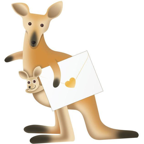 Tilly and Joe Kangaroo Greeting Card - Special Delivery