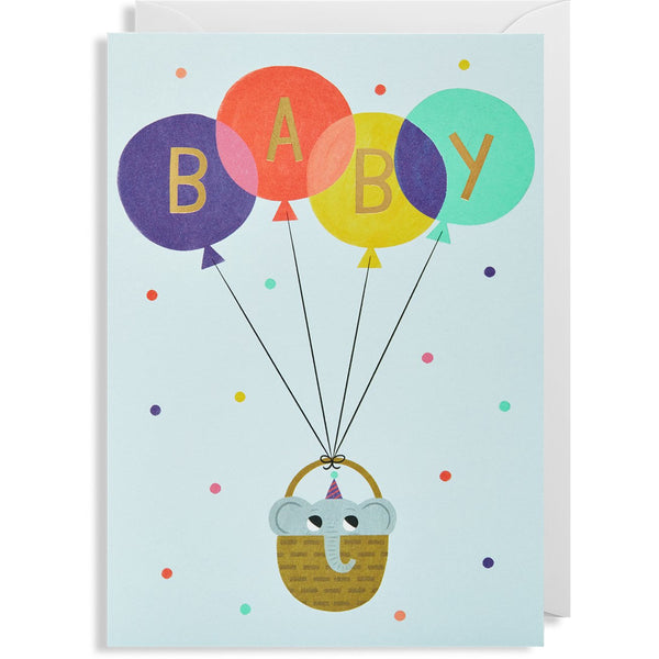 Baby Blue Elephant Balloon Greeting Card - Lagom Design by Allison Black