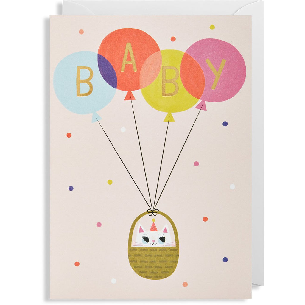 Baby Cat Pink Balloon Greeting Card - Lagom Design by Allison Black