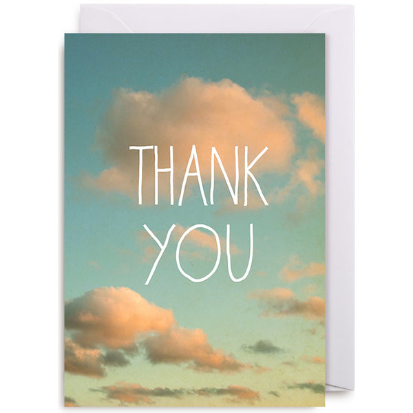 Pink Fluffy Clouds, Thank You Greeting Card - Lagom Design by Alicia Bock
