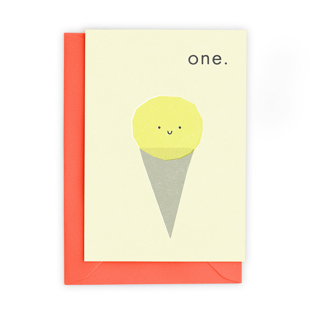 1 Ice Cream Scoops Greeting Card - Freya Art And Design