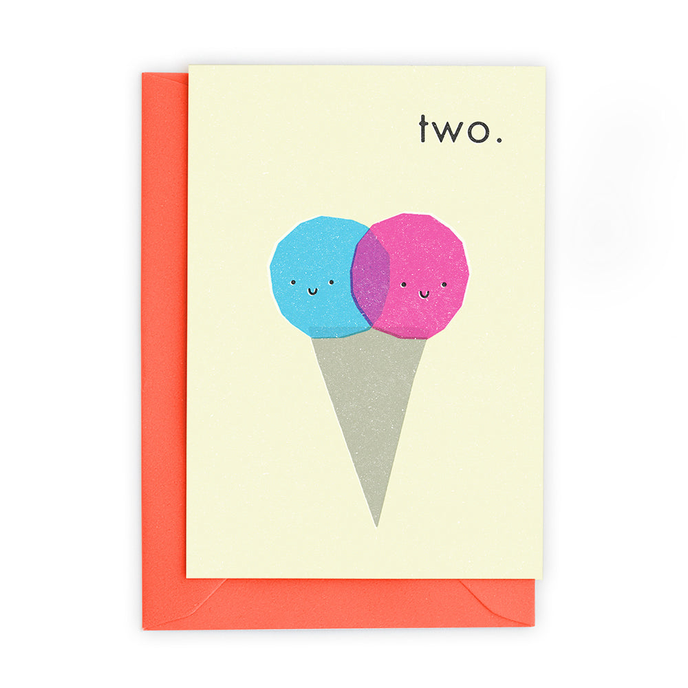 2 Ice Cream Scoops Greeting Card - Freya Art And Design