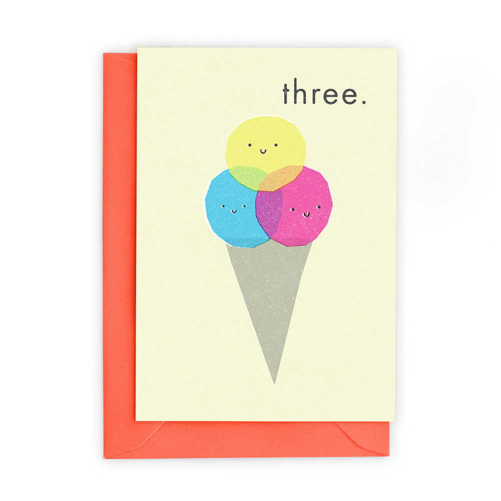 3 Ice Cream Scoops Greeting Card - Freya Art And Design