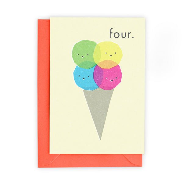 4 Ice Cream Scoops Greeting Card - Freya Art And Design