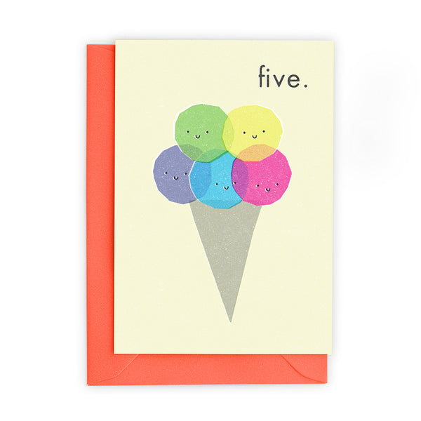 5 Ice Cream Scoops Greeting Card - Freya Art And Design