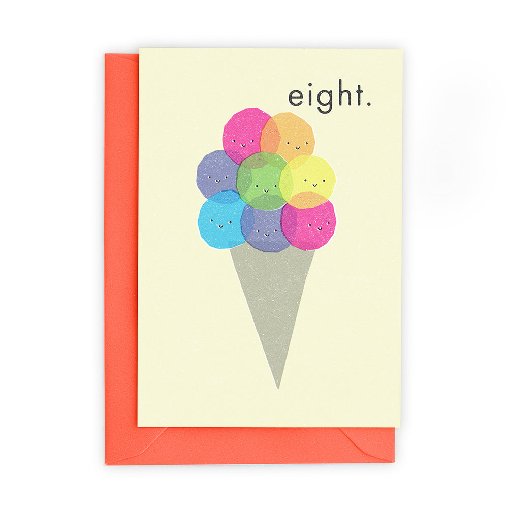 8 Ice Cream Scoops Greeting Card - Freya Art And Design