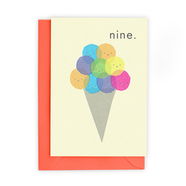 9 Ice Cream Scoops Greeting Card - Freya Art And Design