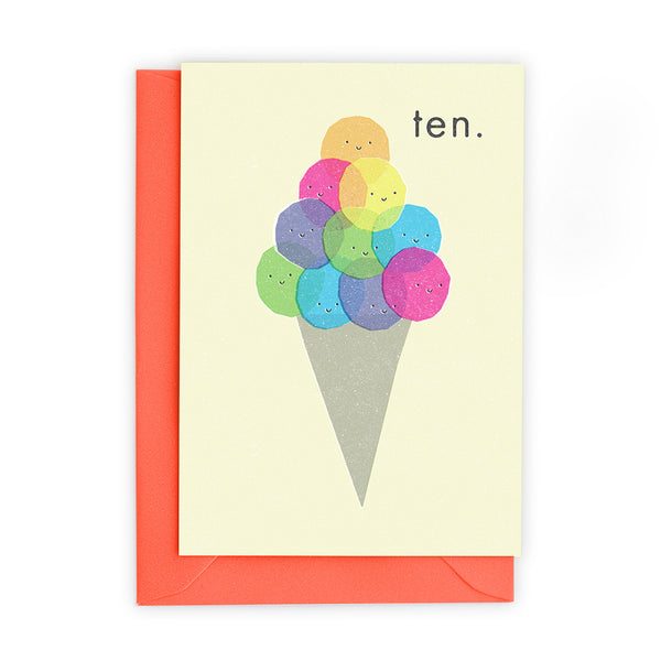 10 Ice Cream Scoops Greeting Card - Freya Art And Design