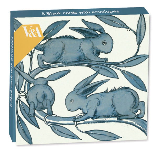 Rabbits Running Along a Branch Folded Note-cards - Museums And Galleries  (Pack of 8)