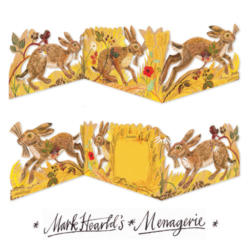 Hares collage die-cut is a charming freestanding 3D card by artist Mark Herald.