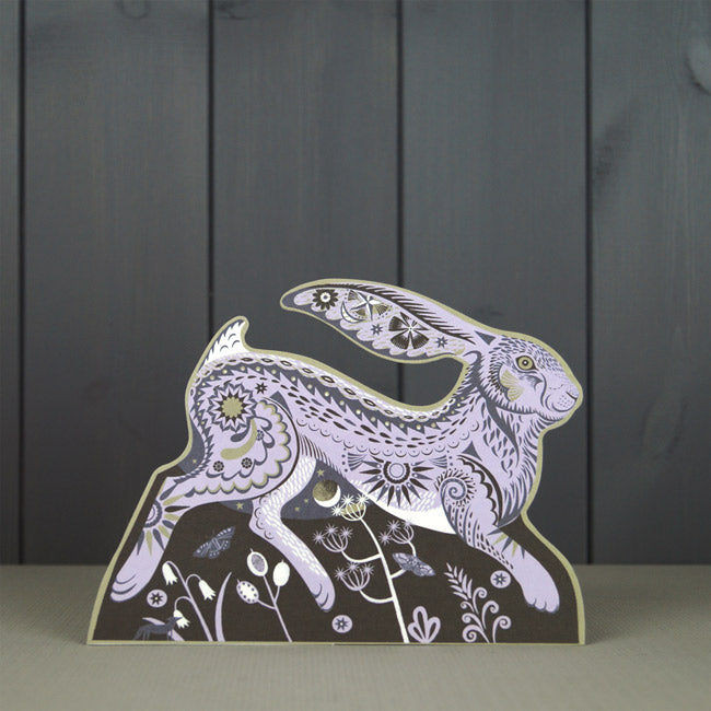 Hester Hare Die Cut Card - Art Angels by Sarah Young    Hester Hare is a charming freestanding 3D die-cut card by artist Sarah Young  Published and printed by Art Angels, England.  The board of this card is produced by a paper mill in the UK, and the wood pulp comes from sustainable forests in Finland, both are FSC certified (Forestry Stewardship Certification). The cards are all printed by off-set litho and using vegetable-based inks
