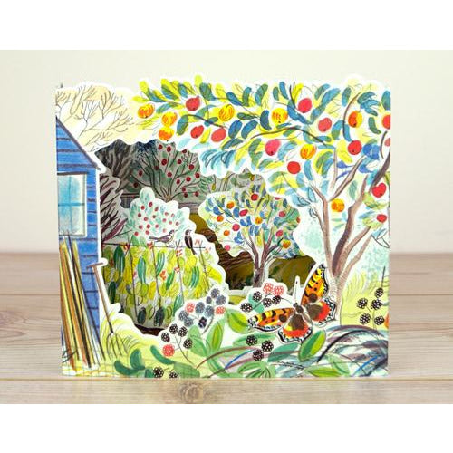 Orchard allotment die-cut  is a charming freestanding 3D card by artist Emily Sutton