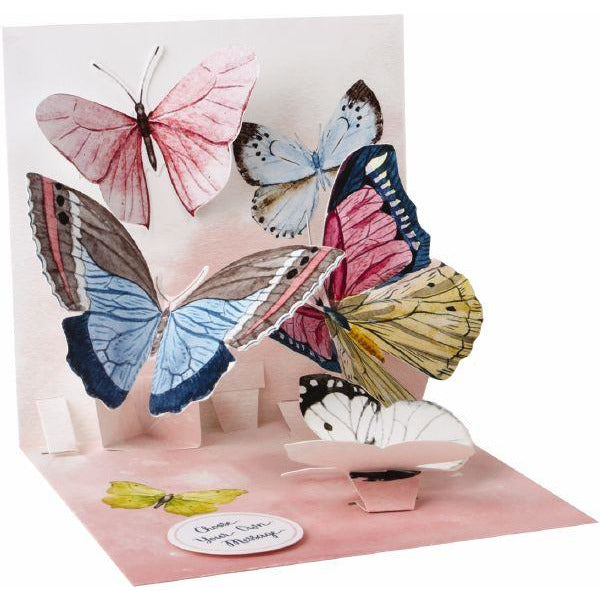 Watercolour Butterflies Pop-up Greeting Card - Up With Paper
