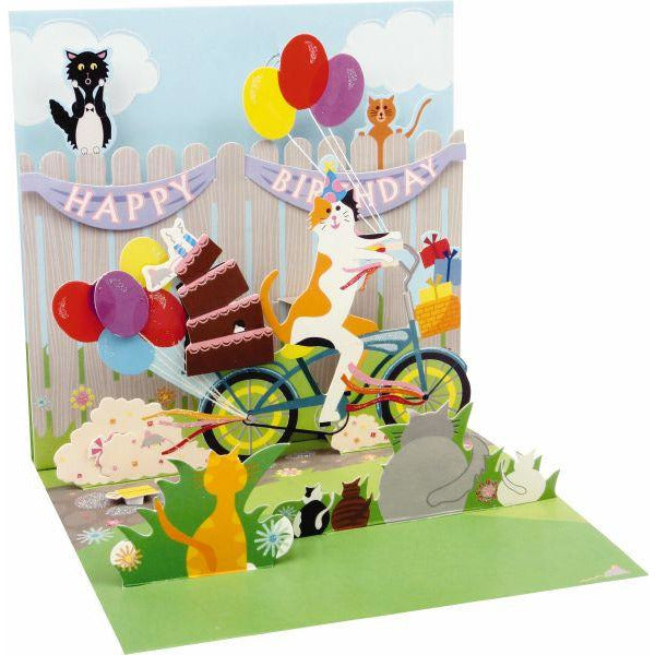 Cat and Cake Bike Ride Greeting Card - Up With Paper