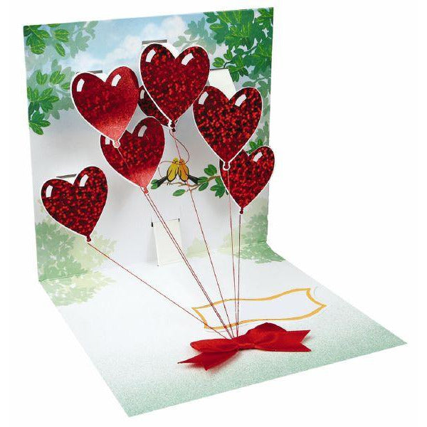 Heart Balloons Pop-up Greeting  Card - Up With Paper