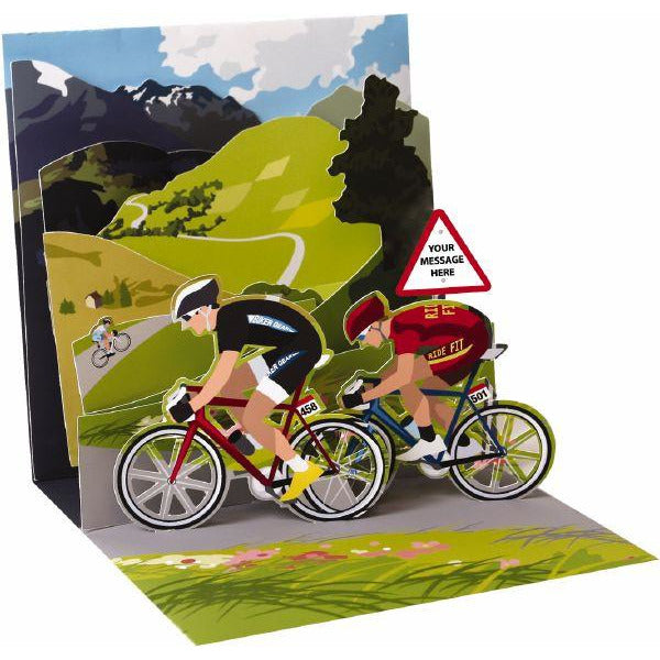 Cycling Pop-up Greeting Card - Up With Paper
