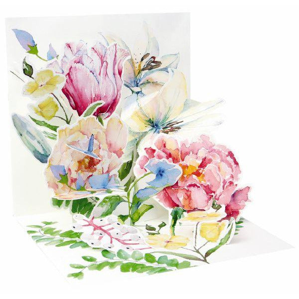 Watercolour Bouquet Pop-up Greeting Card - Up With Paper