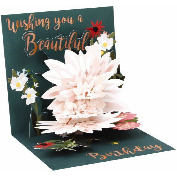 Beautiful Birthday Card - Up With Paper - popup baby pind flower. base dark blue