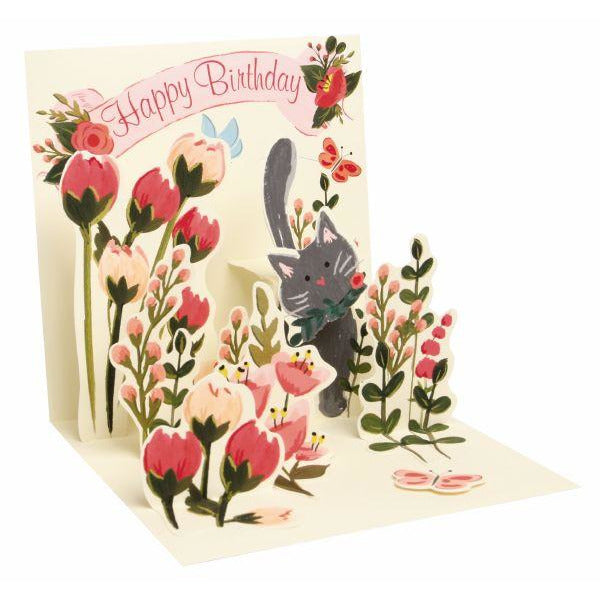 Botanical Cats Pop-up Birthday Card - Up With Paper