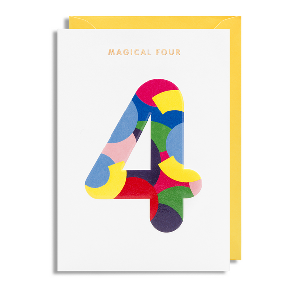 Age 4 Greeting Card - Lagom Design by Magic Numbers