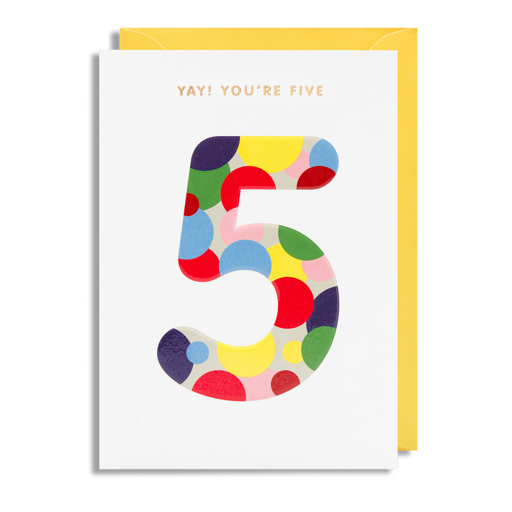 Age 5 Greeting Card - Lagom Design by Magic Numbers
