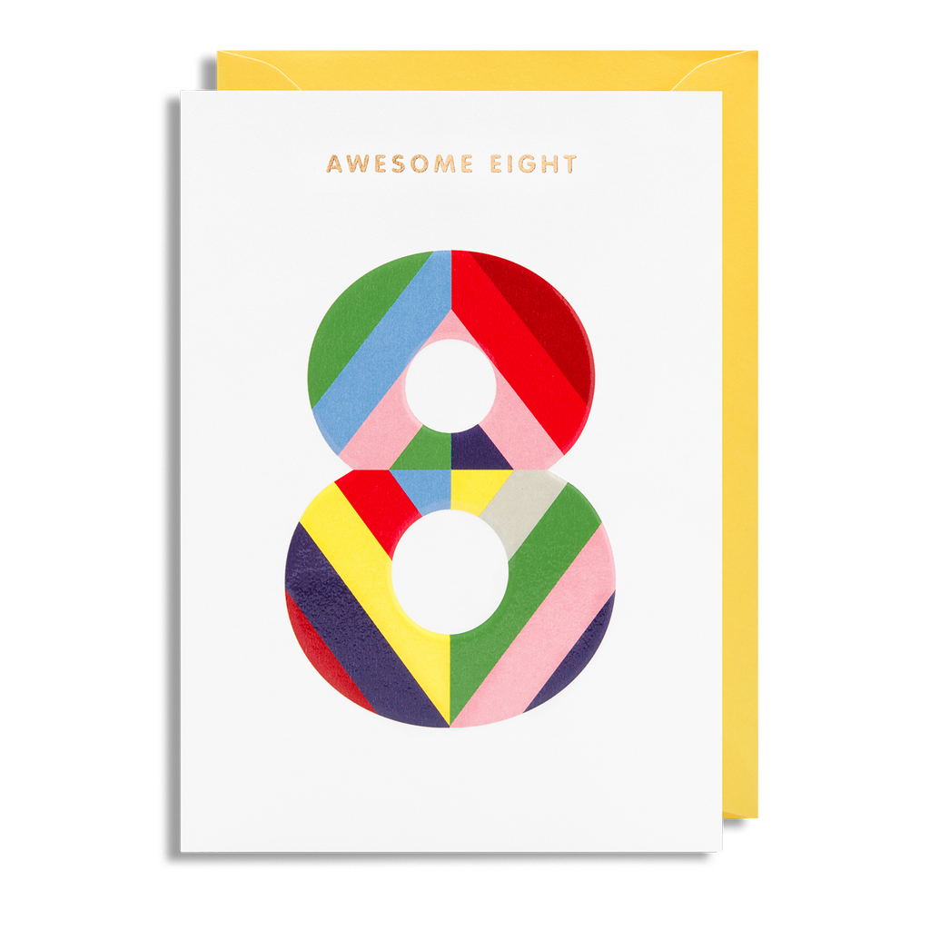 Age 8 Greeting Card - Lagom Design by Magic Numbers