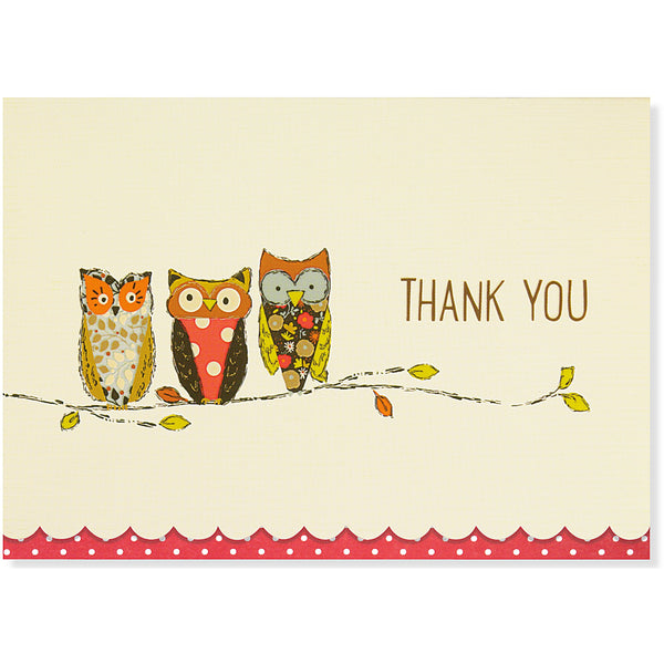 Perching Owls Thank You Folded Note Cards - Peter Pauper Press (Pack of 14)
