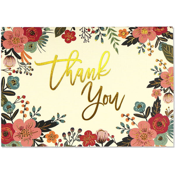 Floral Frame Thank You Folded Note Cards - Peter Pauper Press  (Pack of 14)