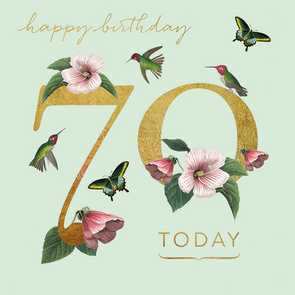 Gold coloured '70 today' with romantic birds and flowers around it. 'happy birthday' written in handwriting