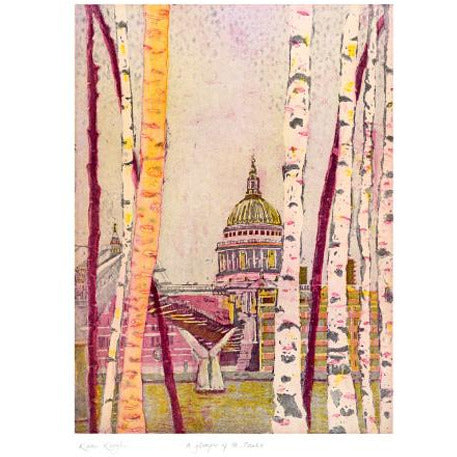 A Glimpse of St. Paul's Etching Card - Art Angels by Karen Keogh