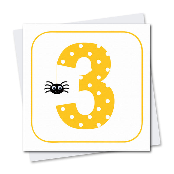 Age 3 Spider Greeting Card - Stripey Cats