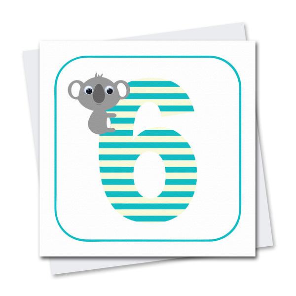 Age 6 Koala Greeting Card - Stripey Cats