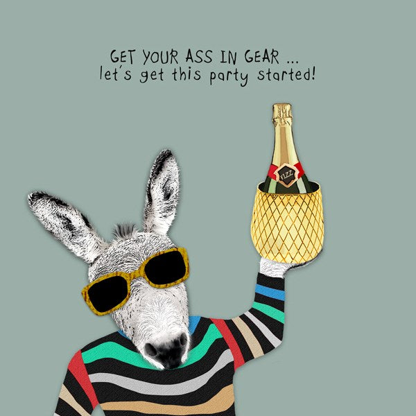 Ass In Gear Birthday Greeting Card - Sally Scaffardi