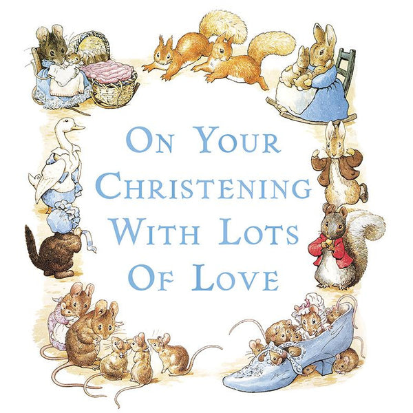 Peter Rabbit Christening Greeting Card - Hype Cards (Blue)