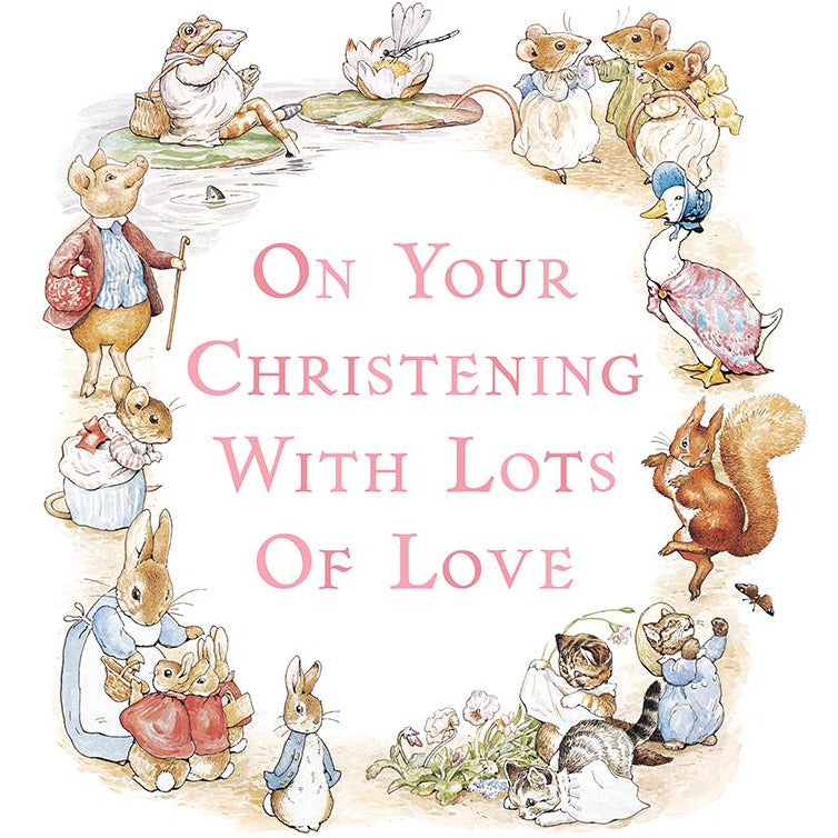 Peter Rabbit Christening Greeting Card - Hype Cards (Pink)