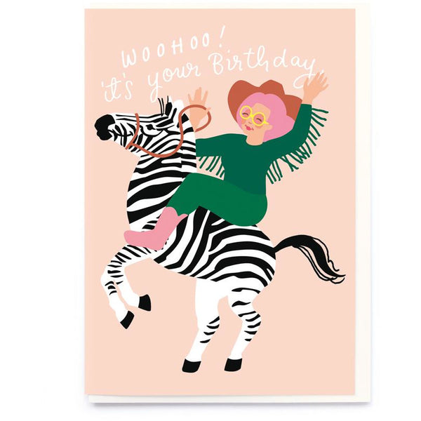 Zebra Girl Birthday Greeting Card - Noi Publishing