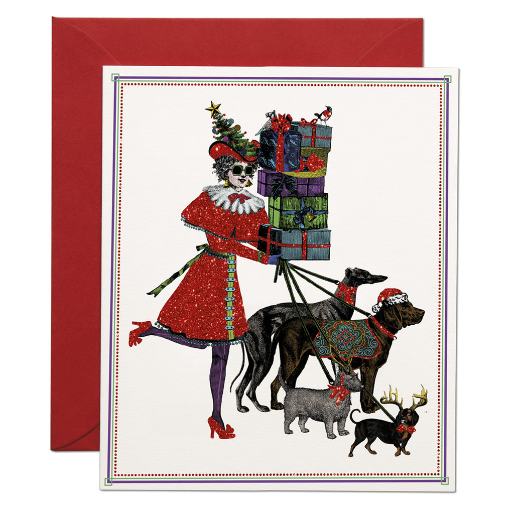 a woman in Christmas costume carries gift boxes and accompanied by her dogs. base white