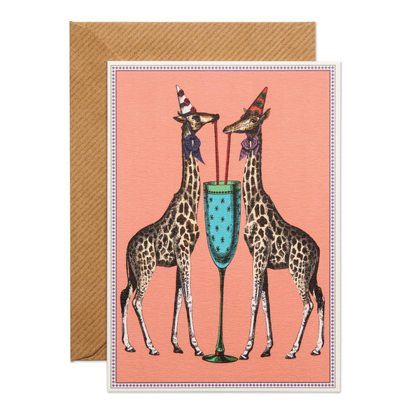 giraffes with a party hat, sharing a champagne glass. base coral