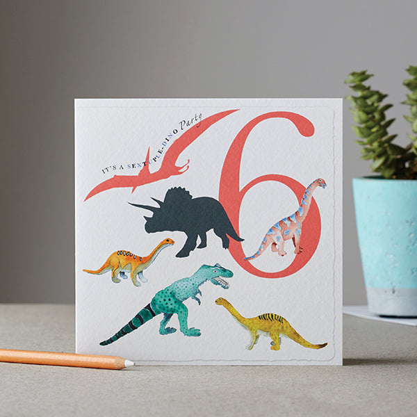 It's a Sextuple-dino Party Birthday Card - Deckled Edge