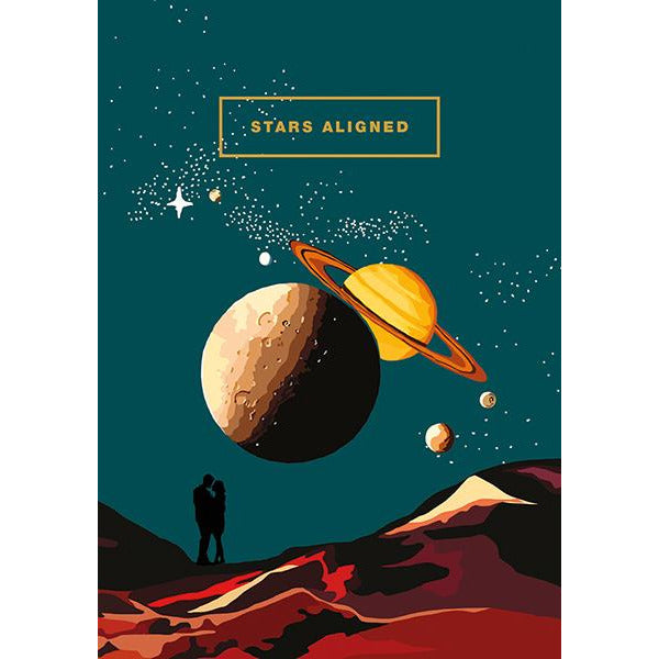 Stars Aligned Greeting Card - The Art File by Emily Brooks