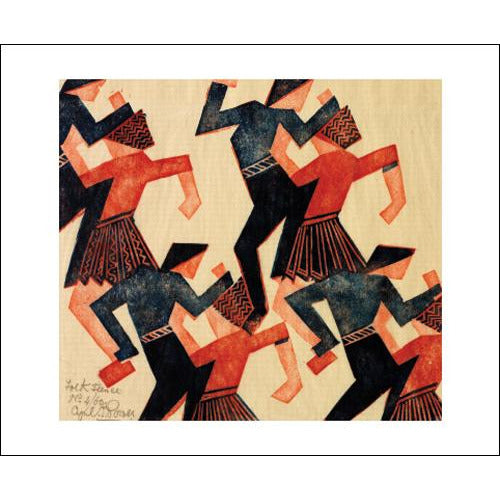 Folk Dance c.1932 Linocut Card - Art Angels by Cyril E. Power