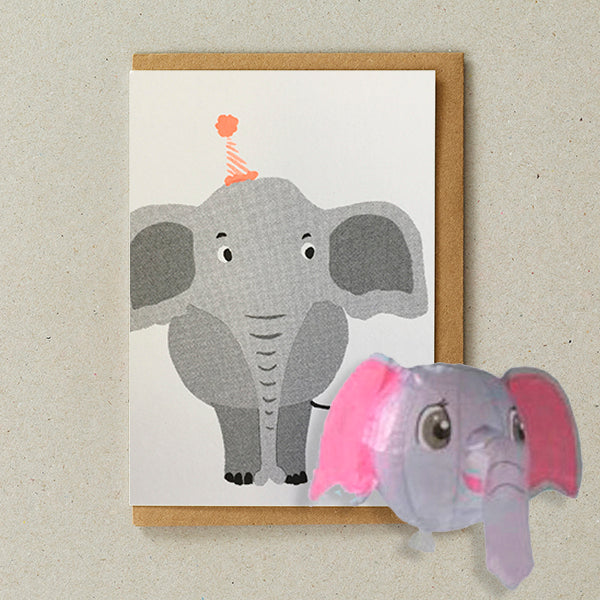 Elephant, Japanese Paper Balloon Card - Petra Boase