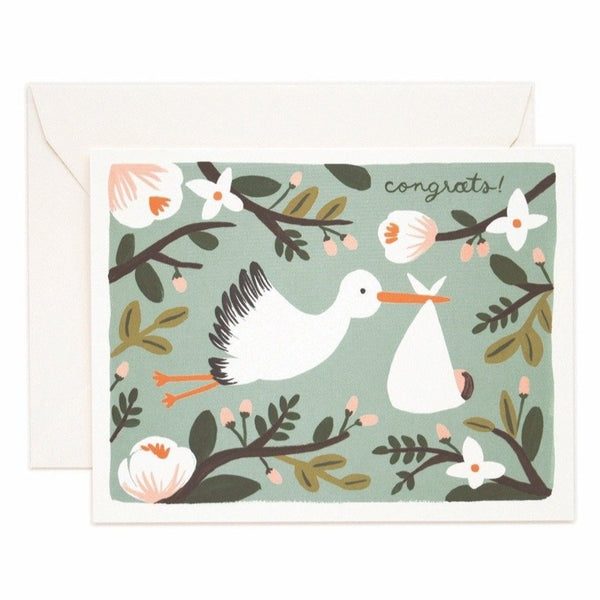 Congrats Stork Greeting Card - Rifle Paper